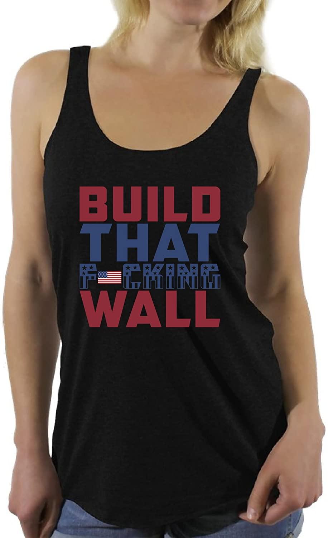 Awkward Styles Women's Build That Fcking Wall Pro-Trump Graphic Racerback Tank Tops