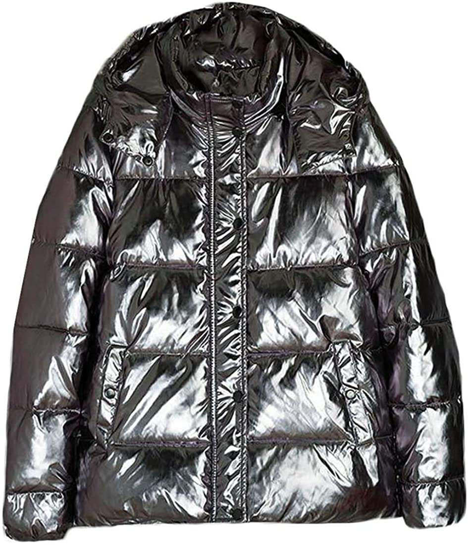 Qhghdgysd Mens Winter Outwear Hooded Quilted Down Jacket Warm Parka Coat