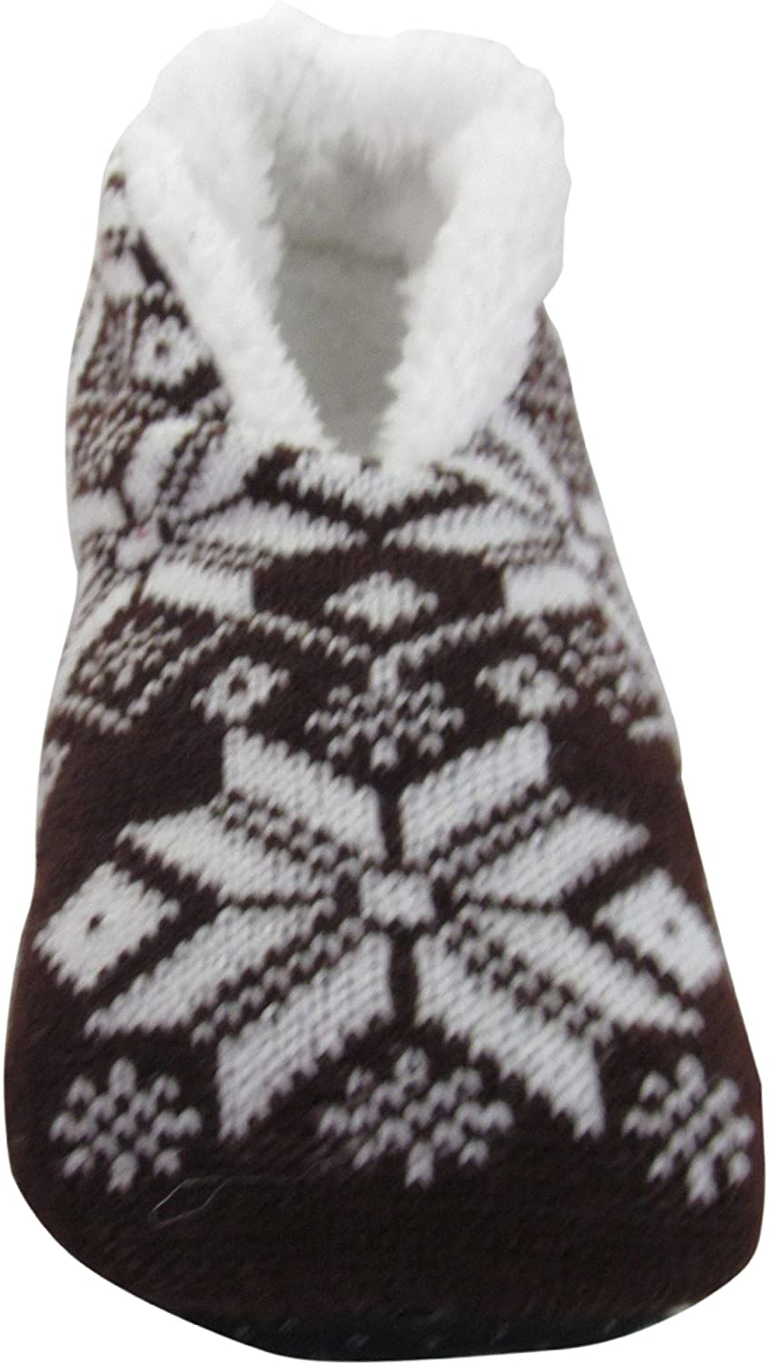 J.Ann Adults Snowflake Sherpa lined Slipper Socks with non Slip Bottom Foot Size:25-26cm. Coffee