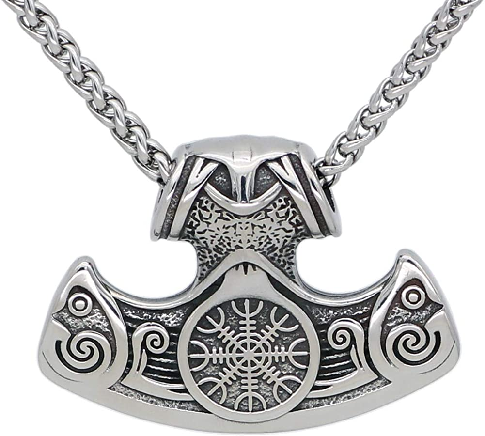 GuoShuang Nordic Viking Helm of awe Axe Pendant Necklace