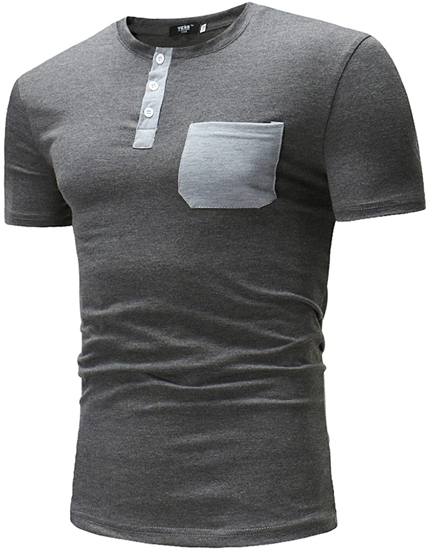 Paixpays Mens Short Sleeve Casual Button Henley Shirt with Pockets