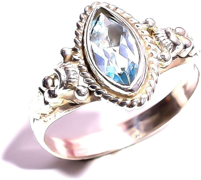 mughal gems & jewellery 925 Sterling Silver Ring Natural Aquamarine Gemstone Fine Jewelry Ring for Women & Girls (Size 6.5 U.S)