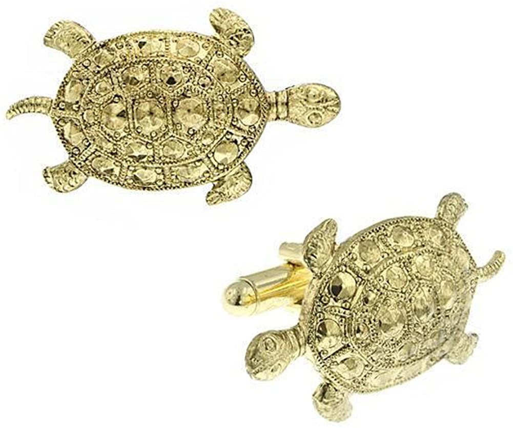 Men's Executive Cufflinks Gold Sea Turtle Faceted Carapace Dress Shirt Cuff Links