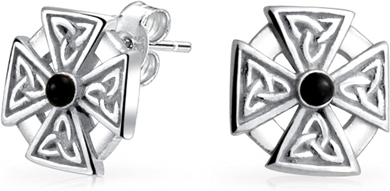 Mens Women Maltese Cross Black Stone Celtic Knot Templar Knight Cross Small Stud Earrings Oxidized 925 Sterling Silver