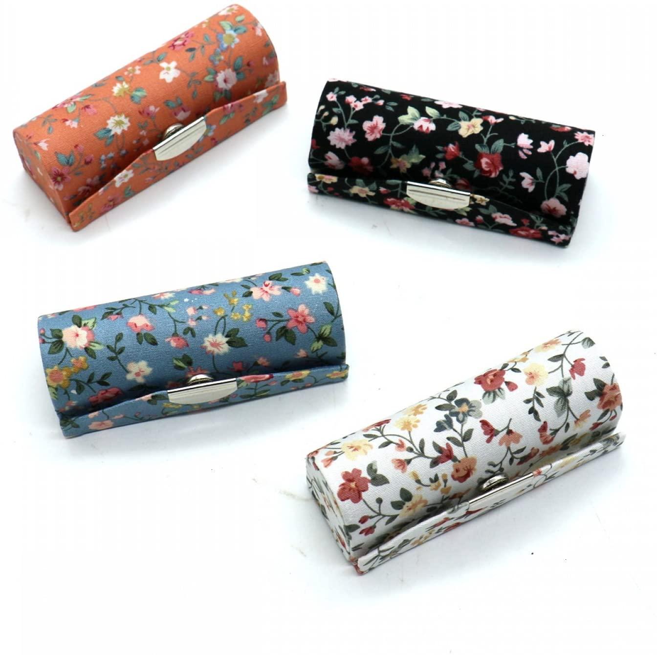 SenseYo 4 Pcs Ladies Floral Lipstick Case Holder with Mirror, Cosmetic Storage Kit Makeup Travel Cases Organizer Bag for Purse