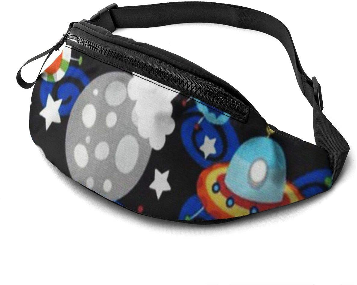 Funny Space Fanny Pack For Men Women Waist Pack Bag With Headphone Jack And Zipper Pockets Adjustable Straps