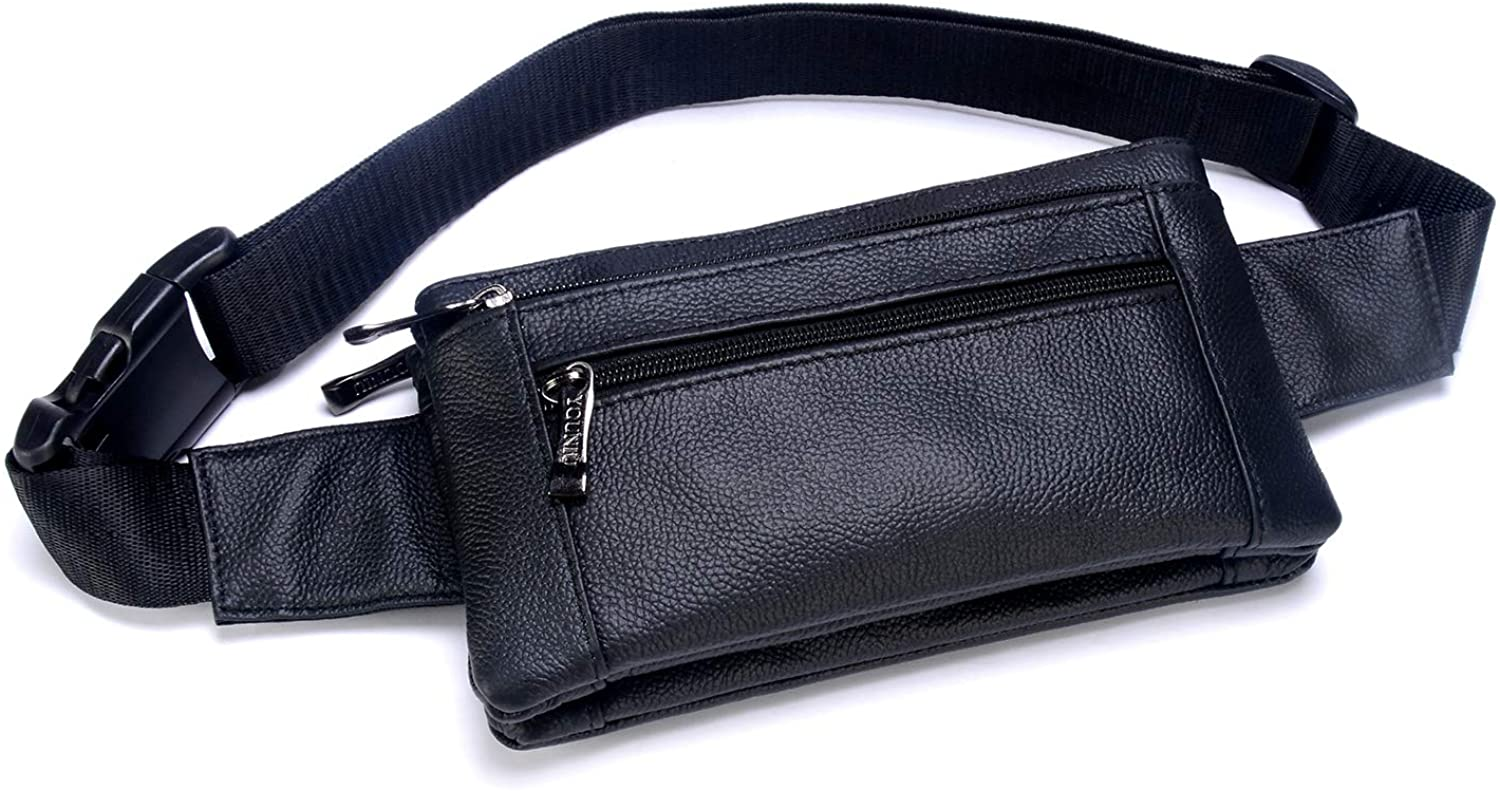 Unisex Waist Pack Genuine Leather Fanny Pack Hiking Cycling Waist Hip Bum Bags