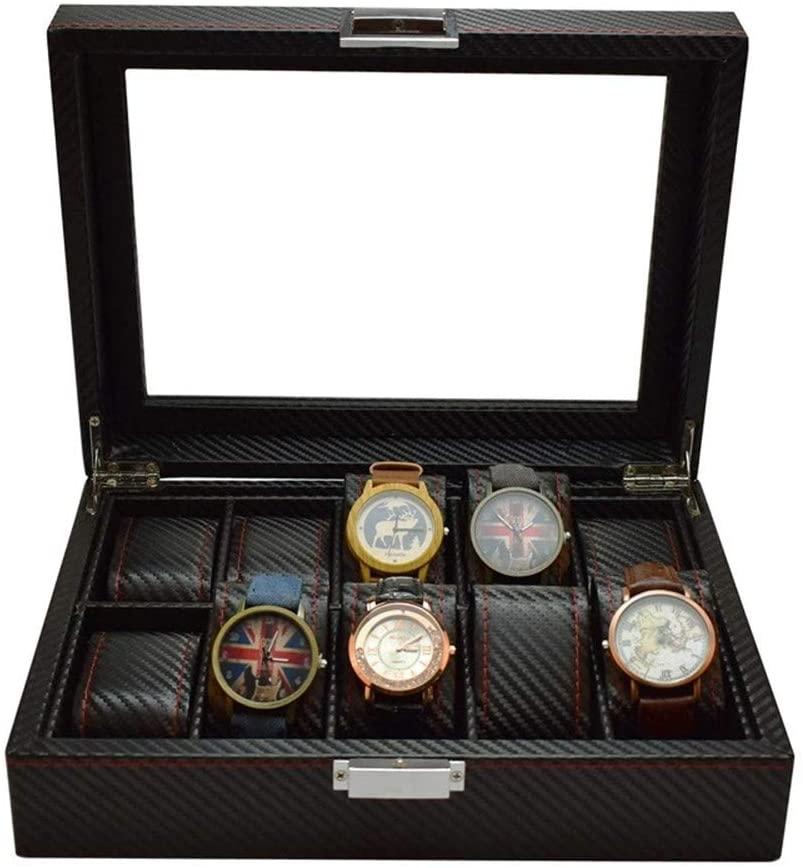 LI&muzi Watch Glasses Storage Box Carbon Fiber PU Leather Watch Sunglasses Packaging Box Display Box,Style b