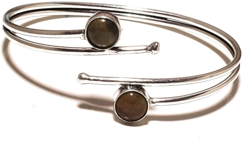 Gift Jewelry! Brown Tiger Eye Sterling Silver Overlay 14 Grams Bangle/Bracelet Free Size