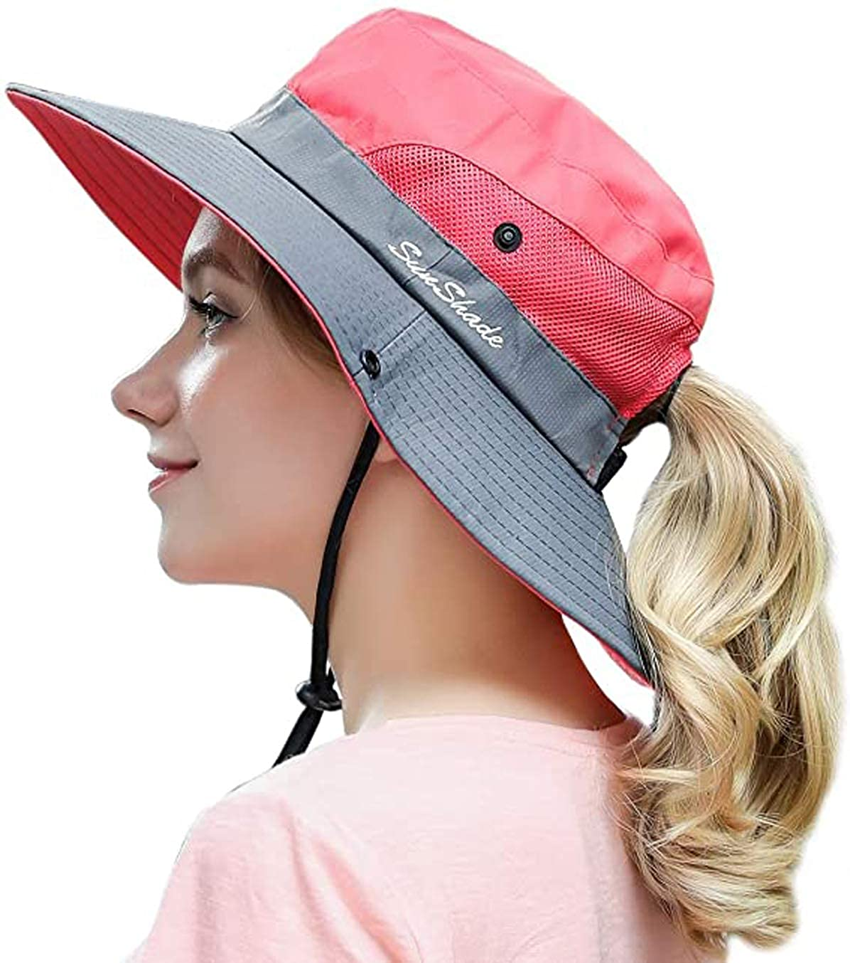 MonicaSun Women's Ponytail hat, Sun hat, Summer mesh Wide Eaves Sunscreen and UV Protection hat