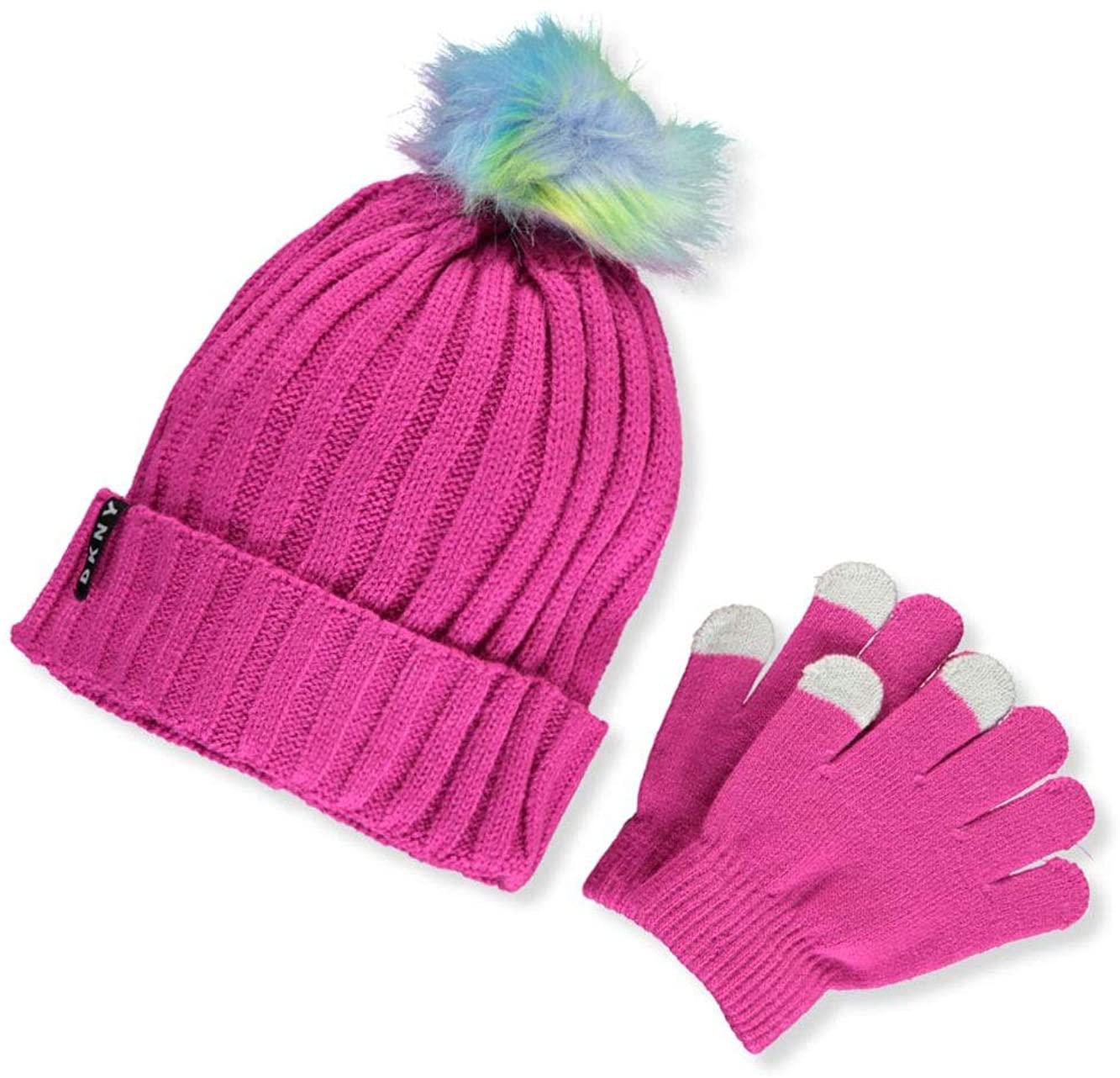 DKNY Girls' Knit Hat & Tech Touch Gloves Set