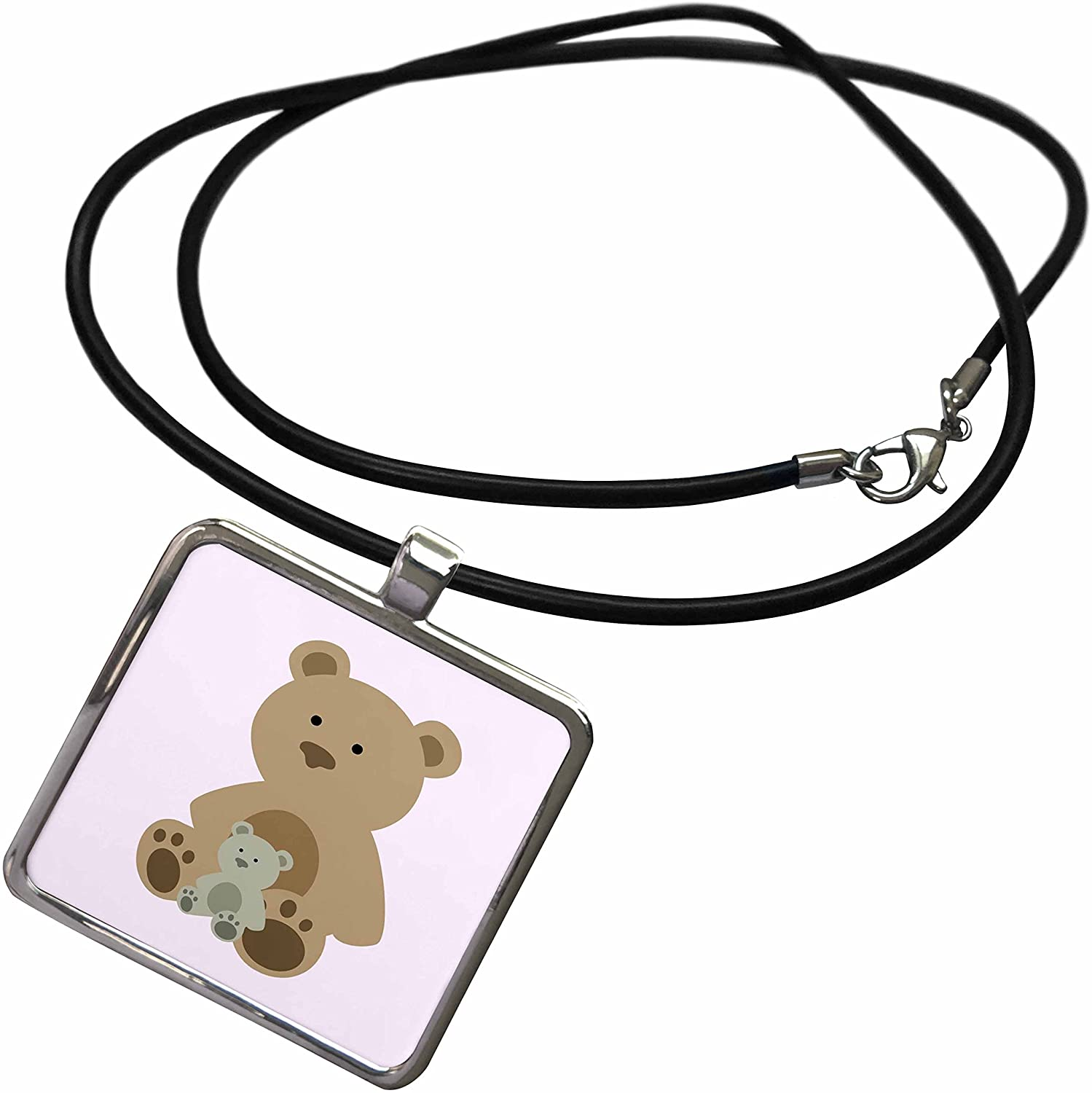 3dRose RinaPiro - Kids - Teddy Bear Pink Kids Room Decoration - Necklace with Rectangle Pendant (ncl_212048)
