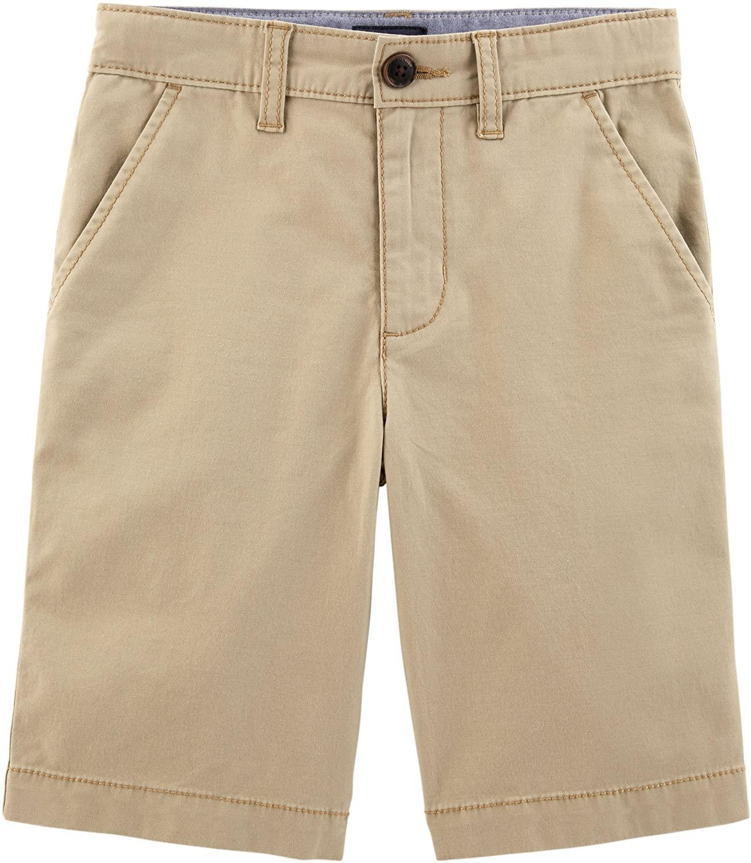 Osh Kosh Boys' Toddler Stretch Flat Front Short, Khaki, 5T