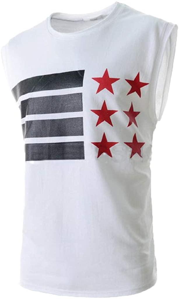 Lefthigh Men's Casual Print Vest, Summer Trendy Sleeveless T-Shirt