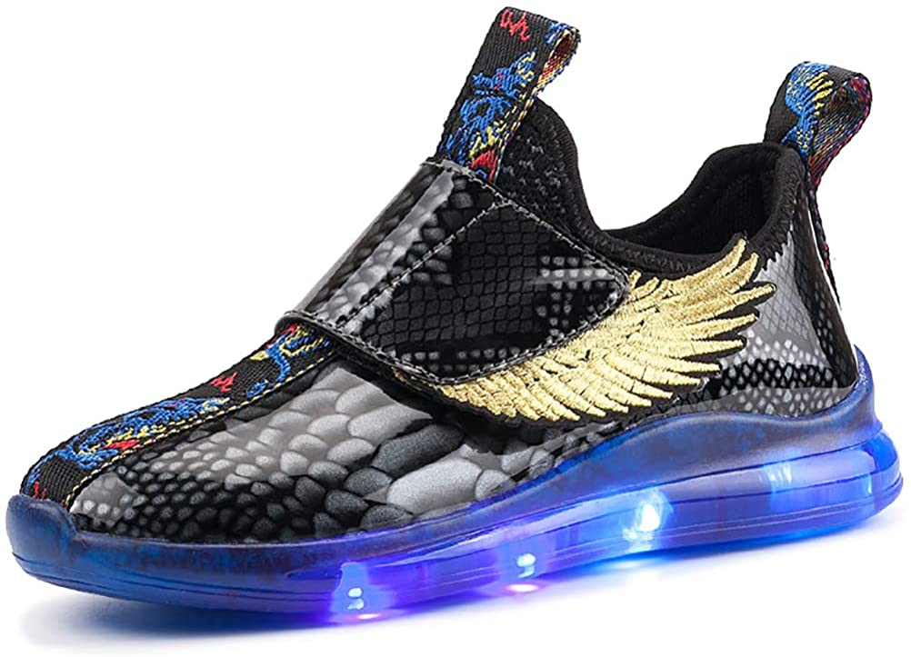 ONEKE LED Light Up Shoes Running Shoes Kids Boys Girls Sneakers 3 Colors Flashing Wings Sneaker