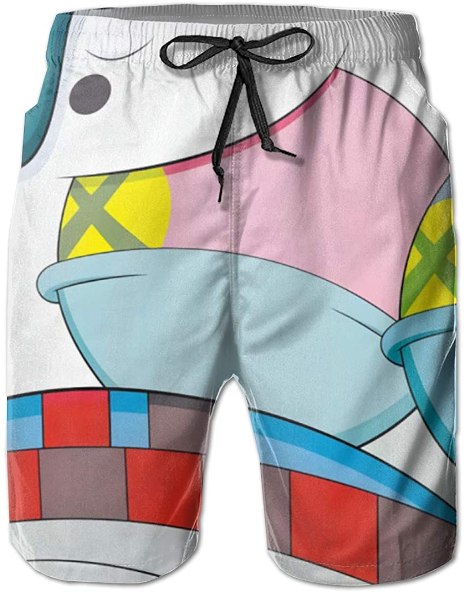 KAWS Men's Swim Trunks Shorts Casual Classic Fit Drawstring Summer Beach Shorts with Elastic Waist and Pockets