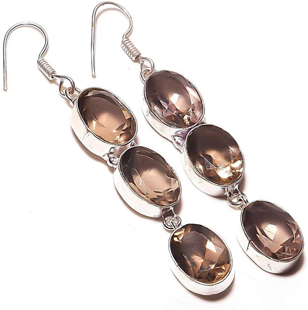Outstanding! Smokey Topaz Quartz HANDMADE Jewelry Sterling Silver Plated Earring 2.5