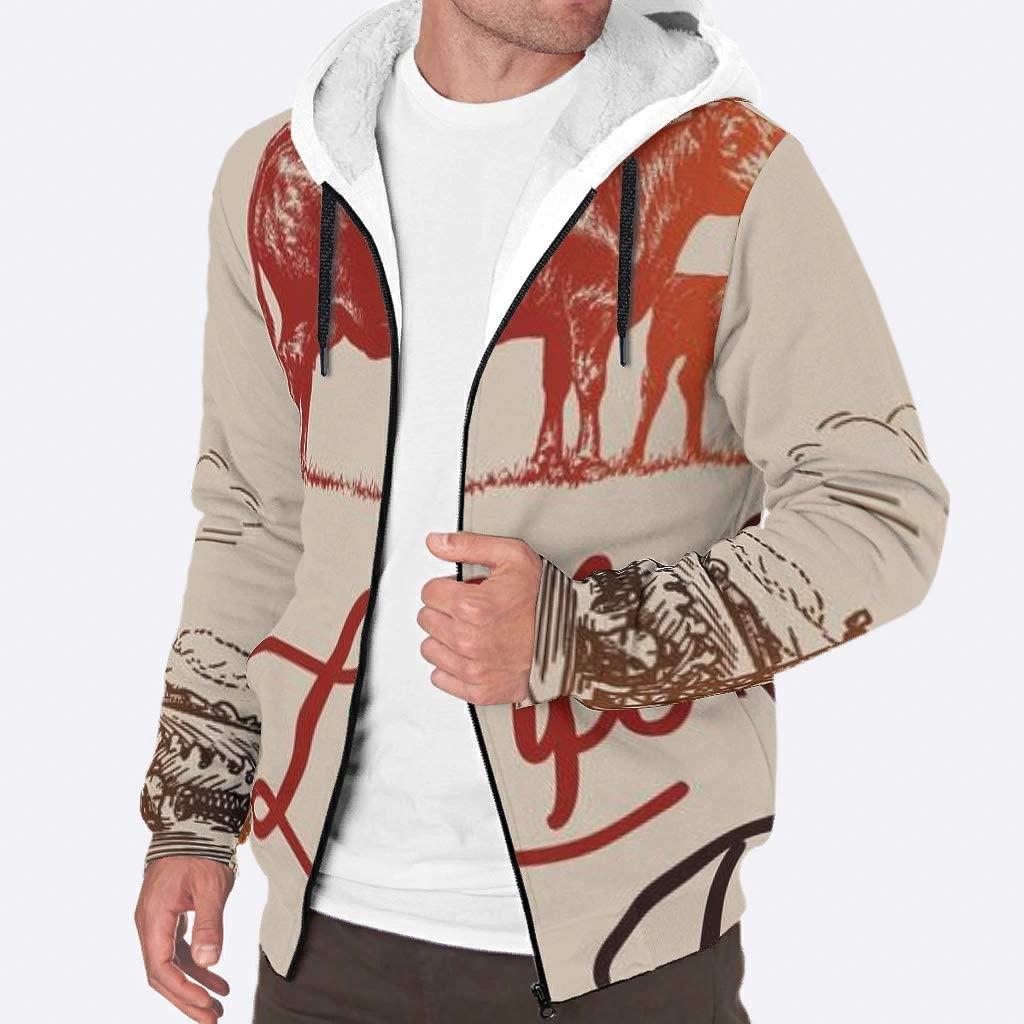 Happycat Male's Full-Zip Hoodies Sweatshirt Winter Life is Better on The Farm Hoodie Sweatshirt Jacket