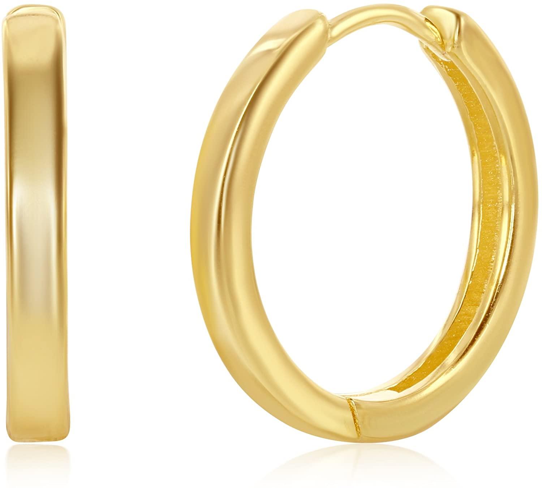 925 Sterling Silver Hoop Earrings for Women Girls Earrings Rounded Huggies for Men