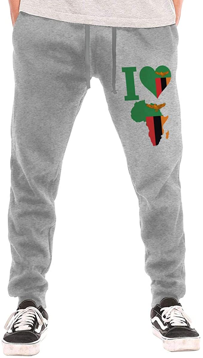 Men's I Love Zambia Flag Africa Map Sweatpants with Pockets Jogger Pants