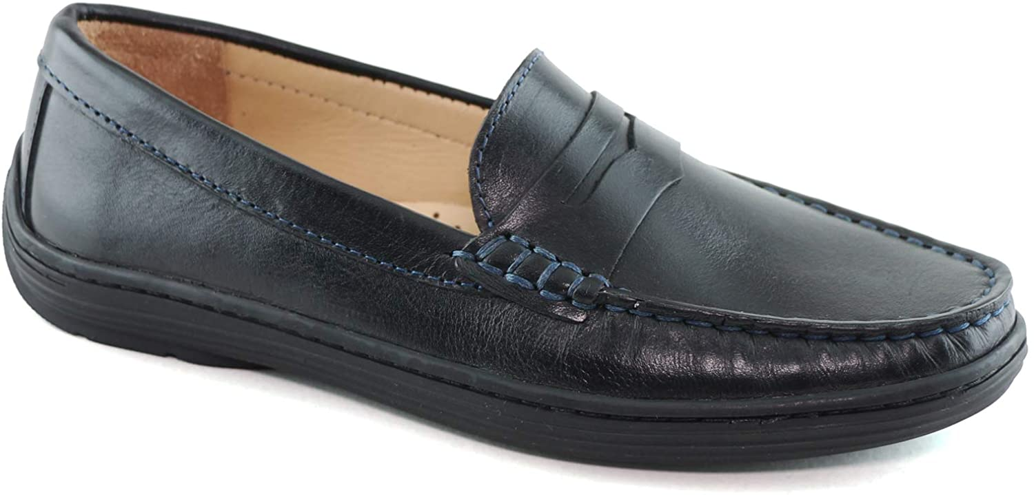 Driver Club USA Kids Boys/Girls Genuine Leather Made in Brazil Naples Penny Loafer