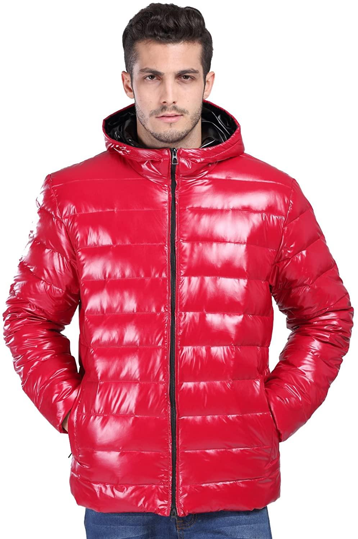 fashciaga Men's White Duck Down Hooded Puffer Jacket