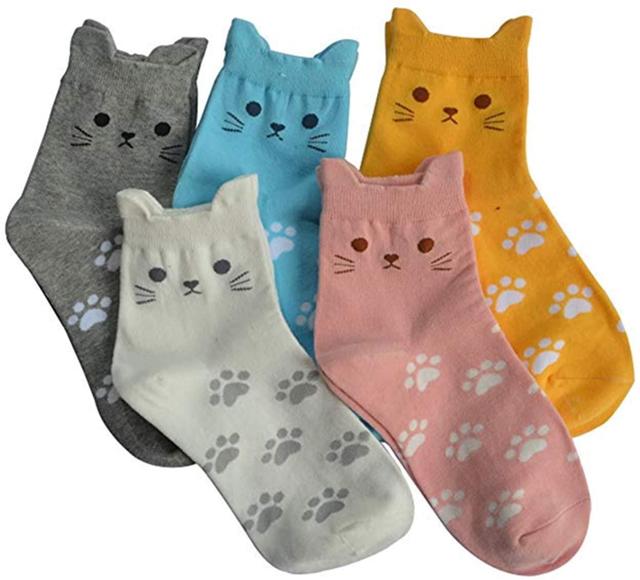 Micrkrowen 5 Pairs Women's Fun Socks Cute Cat Animals Funny Funky Novelty Cotton Gift (Cute Cat)