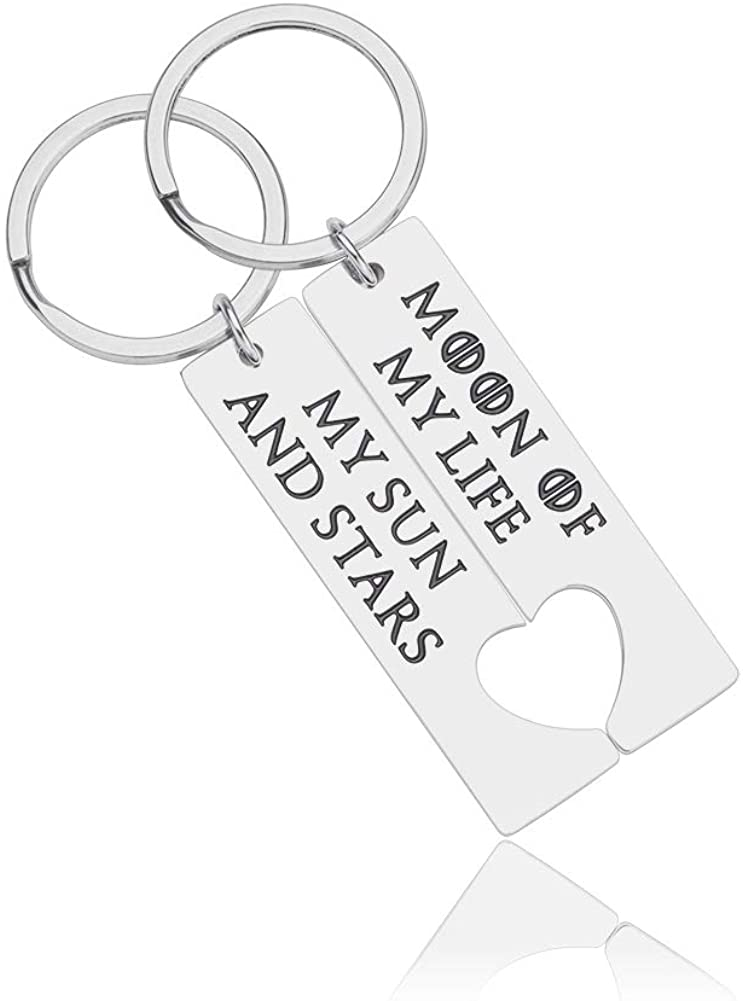 His and Her Cute Couple Keychain Set Moon of My Life My Sun and Stars Game of Thrones Inspired Jewelry Gift for Boyfriend Girlfriend Wife Husband Best Friends Daenerys Dothraki Key Ring