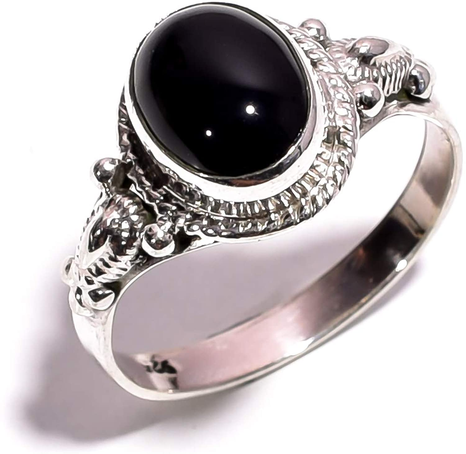 mughal gems & jewellery 925 Sterling Silver Ring Natural Black Onyx Gemstone Fine Jewelry Ring for Women and Girls (Size 8 U.S)