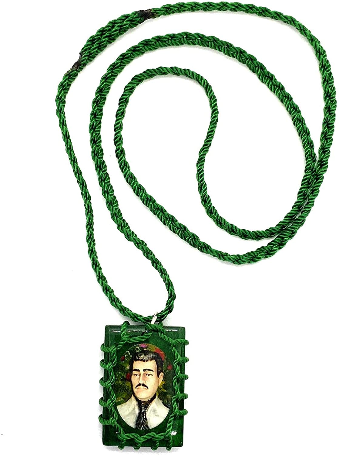 Paradise_Shopping Jesus Malverde Wood Escapulario Negro Narco Saint Square Black Pendant Charm Necklace
