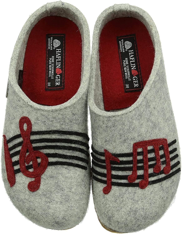 HAFLINGER Unisex Wool Felt Clogs Grizzly Music, Stone Gray