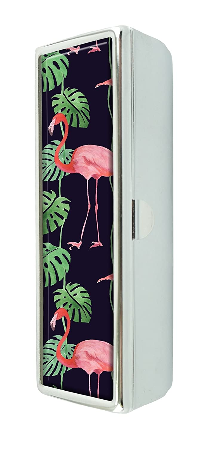 LCTCKP Green leaves and pink flamingo Custom Fashion Lipstick Case With Mirror Lipstick Frame Cosmetic Case Jewelry Box