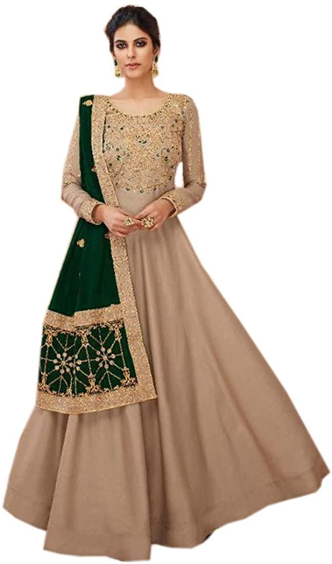 Long Tussar Silk Ready to wear Indian Ethnic Festival Eid Muslim Anarkali Suit Women Dress 9287