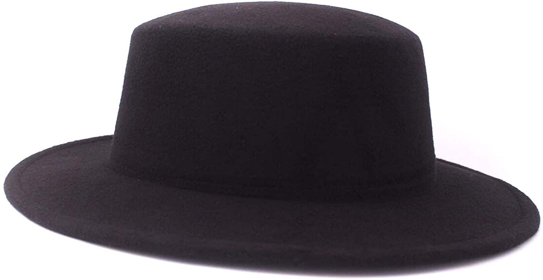 Men Women Wool Blend Fedora Hat Fashion Vintage Wide Brim Adjustable Felt Fedora Hat Unisex Black Hat Flat Top Panama Hats Church Derby Cap
