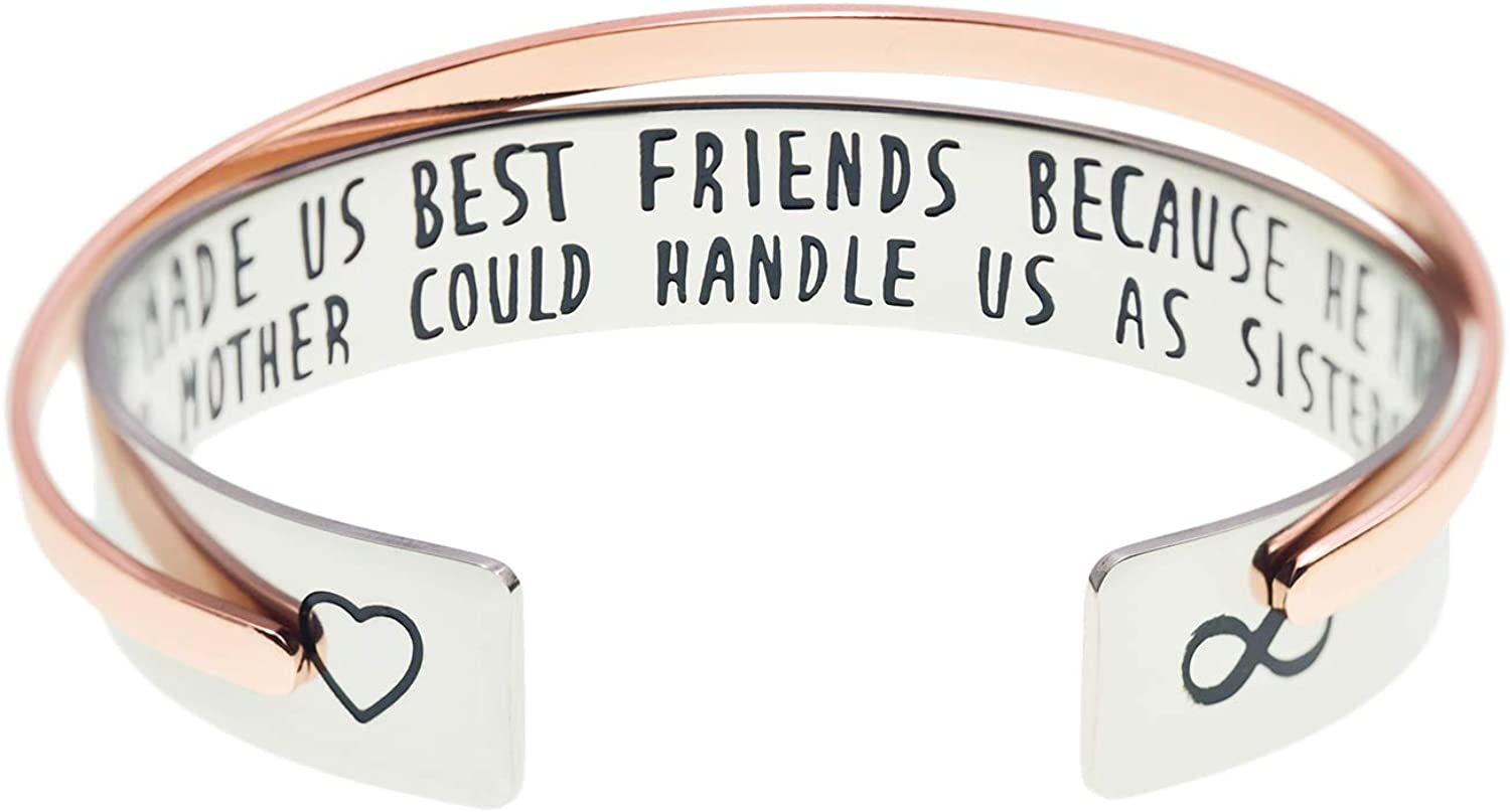 Melix Home Soul Sisters Bracelet Friends are Angels Who Lift Us Up/True Friendship Isn't About Being Inseparable Bracelets Set of 2