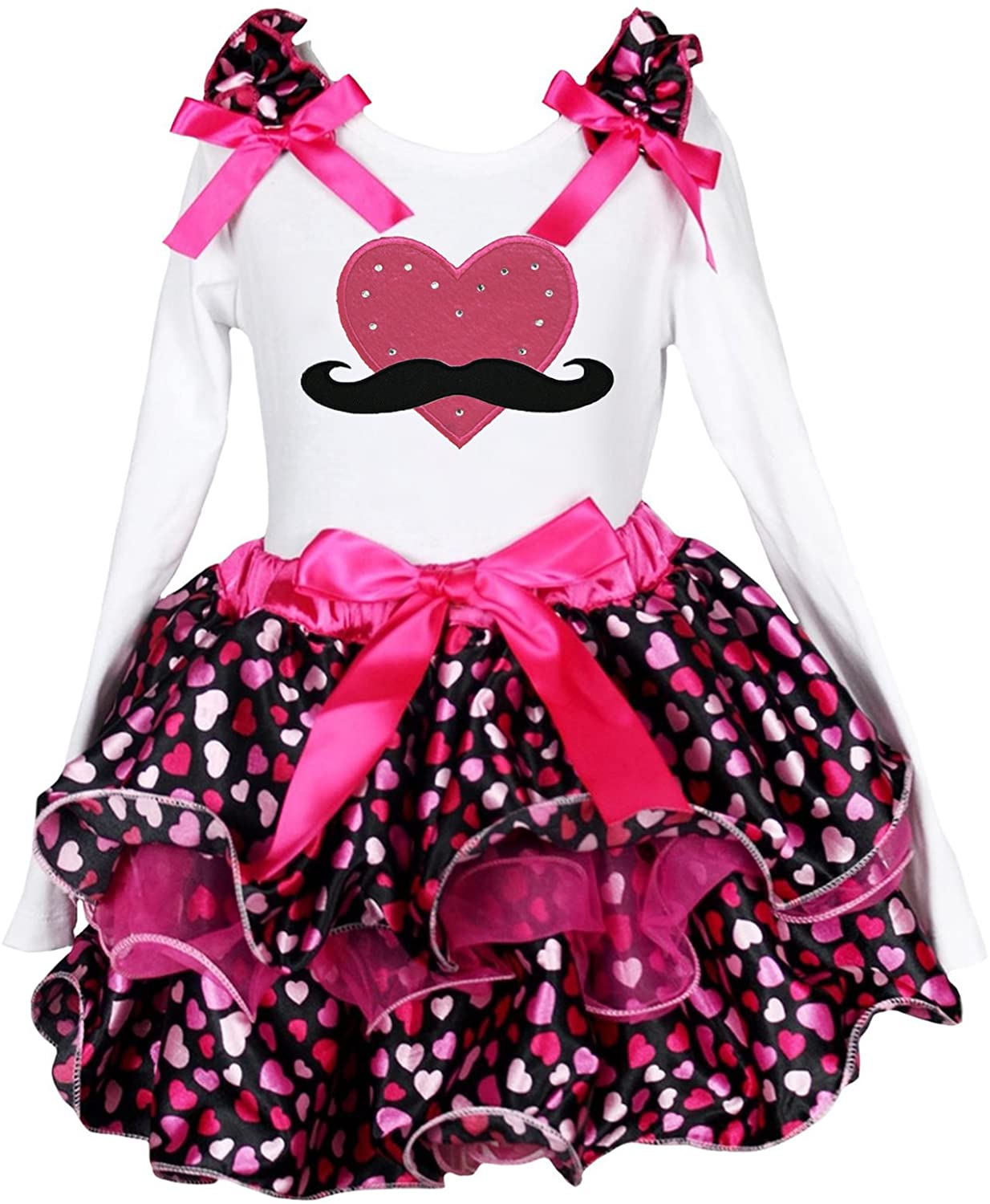 Valentine Dress Mustache Red Heart L/s Shirt Hearts Petal Skirt Set 1-8y