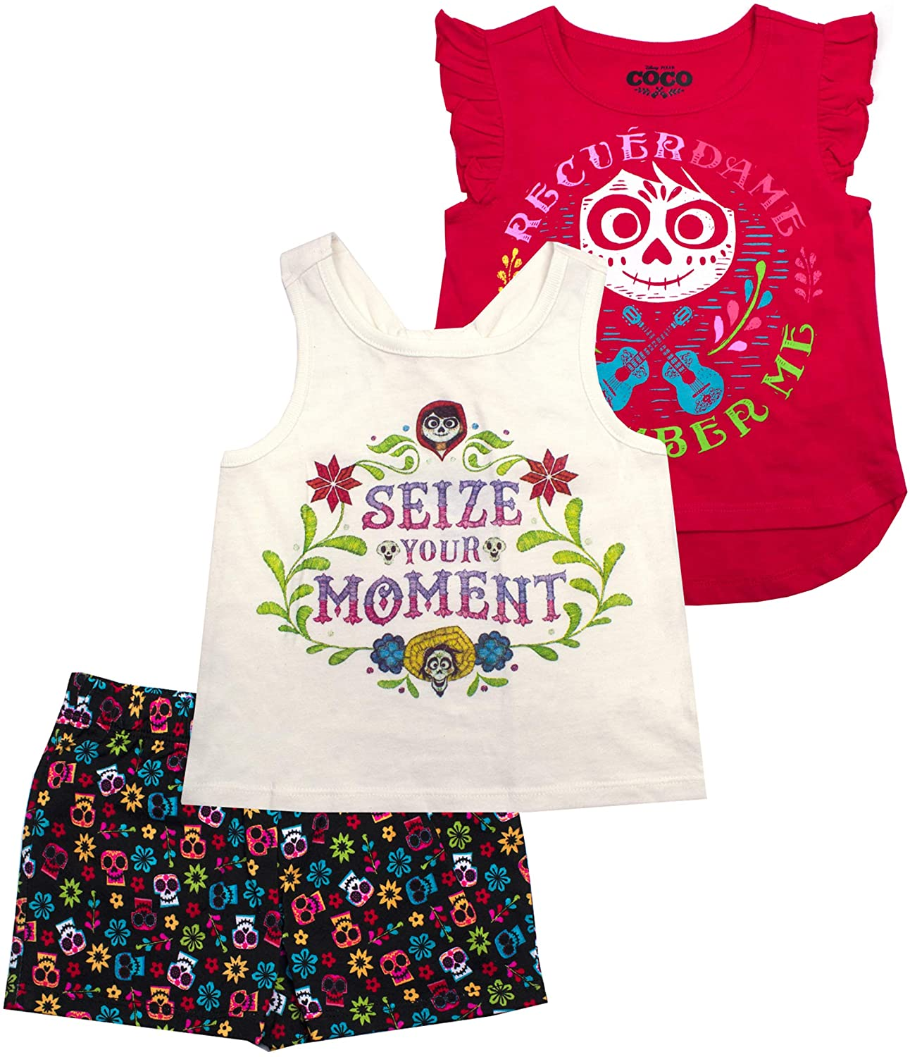 Disney Girls 3-Piece Shirts and Short Set: Wide Variety Includes Minnie, Frozen, and Princess