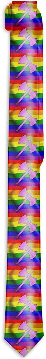 Waving Rainbow Flag Labrys Mens & Boys Tie Fashion Necktie Classic Slim Neck Ties