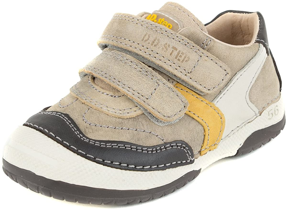 D. D. Step Boys' Boots, Genuine Leather, Grey, Yellow and Beige, Toddler Size (038-4)