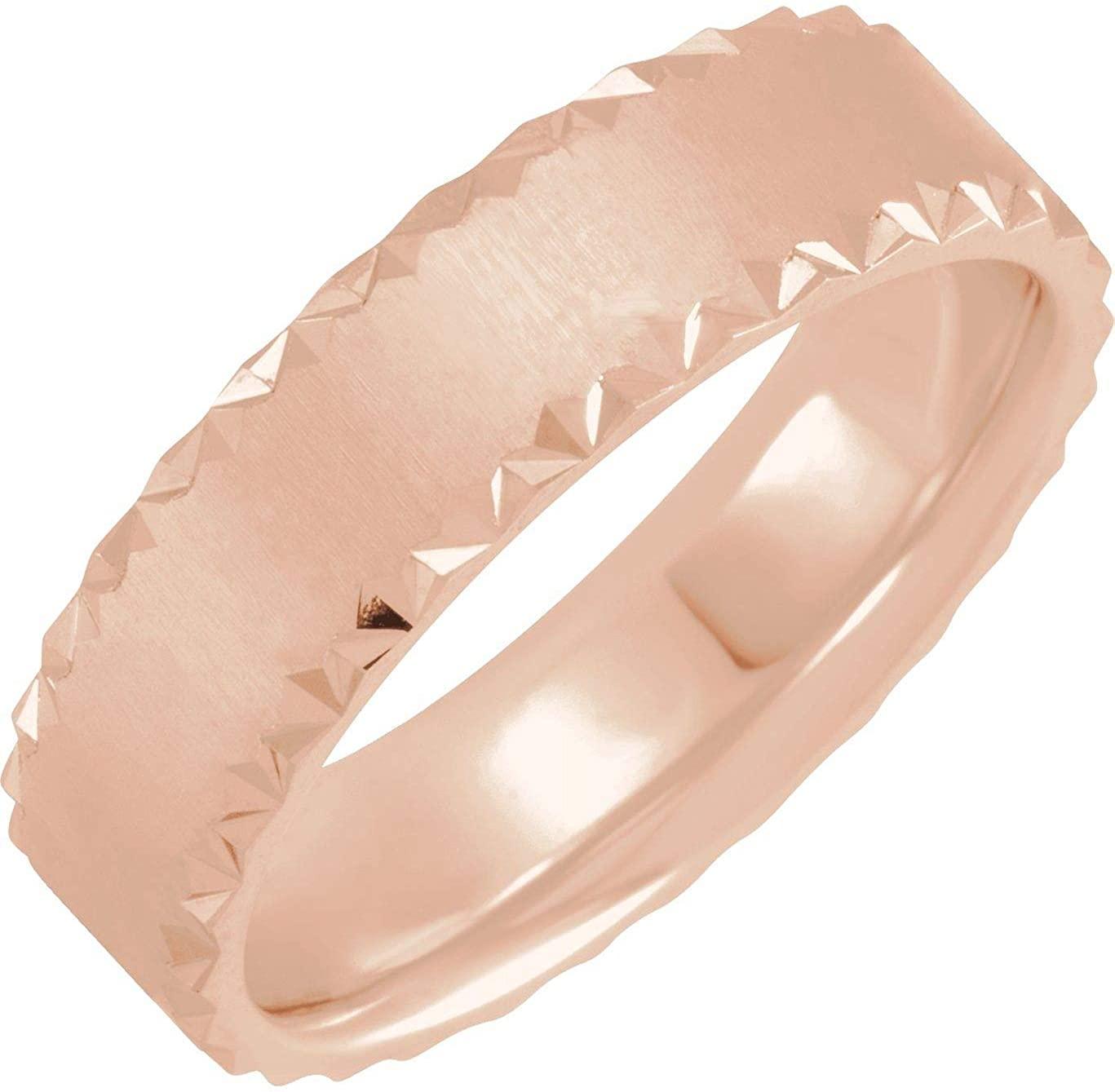 Bonyak Jewelry 10k Rose Gold 6mm Scalloped Edge Band with Satin Finish - Size 9
