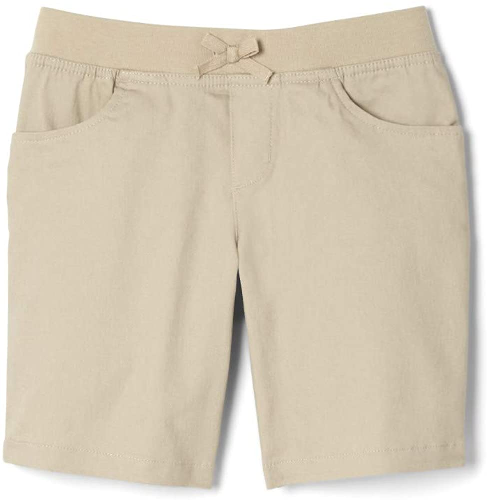 French Toast Girls Size' Stretch Pull-On Tie Front Short, Khaki, 20 Plus