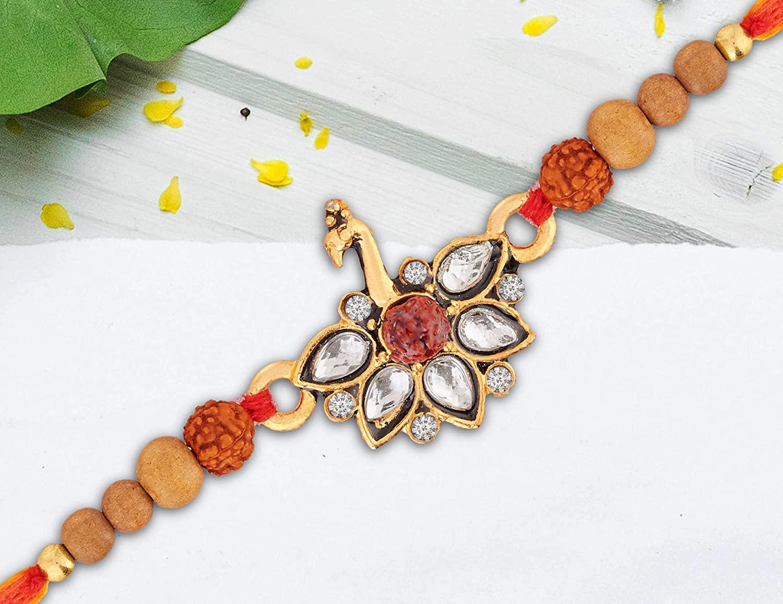 Rakhi | Rakhi for Brother Veera | Raksha Bandhan | Shree Design | Handmade Indian Thread | Faux Beads Stones | Multicolor Rakhee for Bro Brothers | Designer Thread Bracelet | Traditional Rakhi