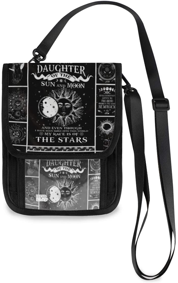 Travel Neck Wallet Wicca Passport Holder Organized Travel Neck Pouch Crossbody Phone Bag for Women Men