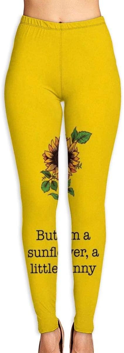 Apuiutw Funny Sunflower Women Funny Print Yoga Leggings Pants Workout Fitness Pants Sports Gym Yoga Quick Dry Capri Leggings