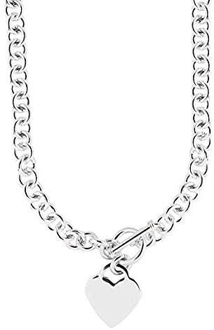 Ritastephens Sterling Silver Dangle Heart Tag Charm Link Toggle Necklace or Wrist Bracelet