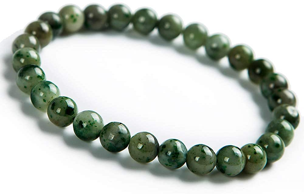 7mm Natural Dushan Green Jade Gemstone Round Bead Stretch Bracelet AAAAA