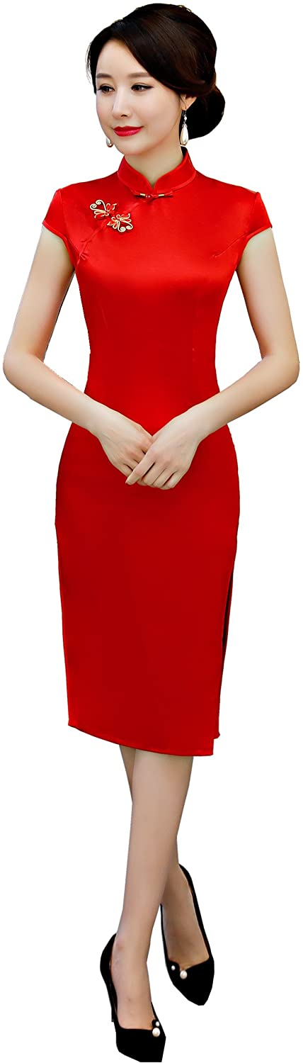 Shanghai Story Red Cheongsam Knee Length Solid Qipao Chinese Wedding Dress