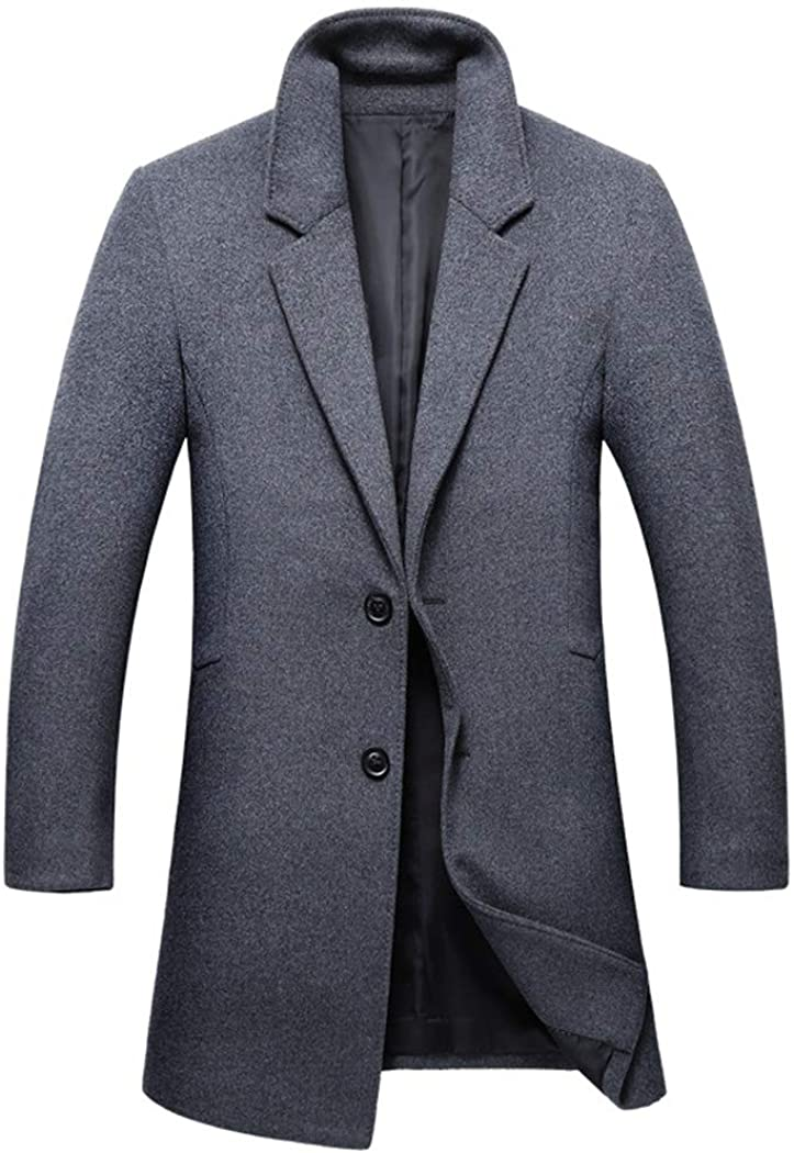 Michealboy Men's Wool Blend Pea Coat Notched Lapel 2 Buttons Single Breasted Overcoat Black Grey