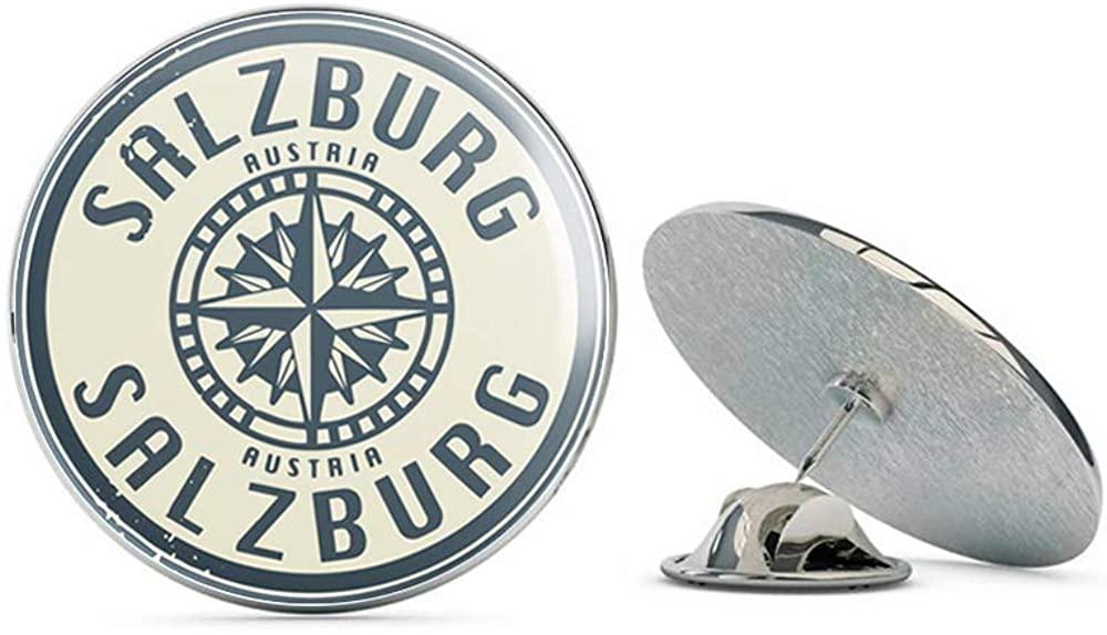 Leyland Designs Salzburg Austria Grunge Travel Stamp Metal 0.75