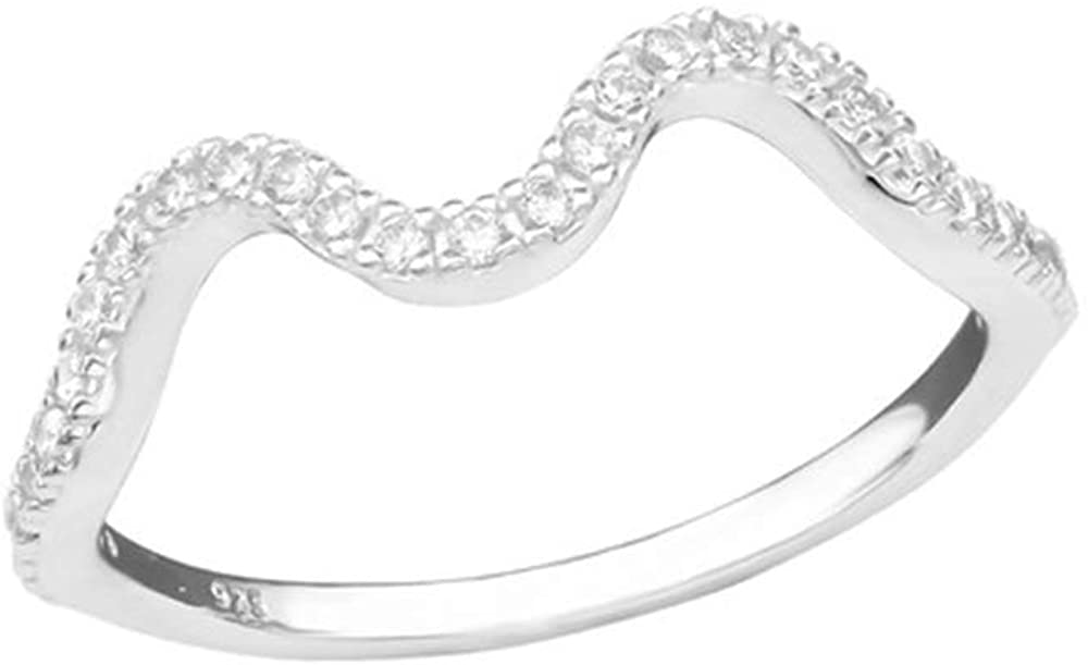 Caratera Wave Jeweled Rings 925 Sterling Silver